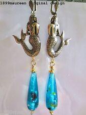 Art Nouveau earrings Art Deco 1920s vintage stye turquoise mermaid drop LONG
