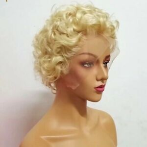 8A 180 Density Unprocessed Brazillian Blonde 613 Curly Full Lace Human Hair Wig