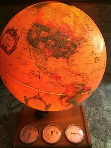 "1980 Scan Globe 12"" Lighted World Spot Globe Weather Station Denmark"