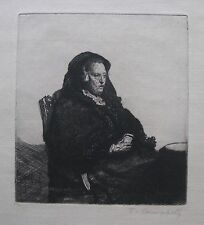 """T. CAMPBELL ETCHING AFTER REMBRANDT """"REMBRANDT'S MOTHER"""" C 1970"""
