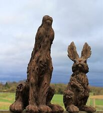 Large Garden Ornament Hare and Rabbit Animal Sculpture Outdoor Wood Effect
