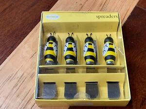 BOSTON WAREHOUSE BUMBLE BEE SET 4 CHEESE CHARCUTERIE SERVER SPREADERS BOX NEW