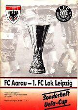 EC Programm 07.09.88 FC Aarau - Lok Leipzig Uefa Cup DDR Deutschland Schweiz