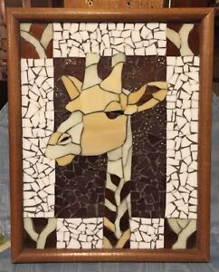 Vintage Rare  Giraffe Mosaic  Wood Framed        USA