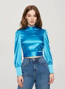 Miss Selfridge Womens Blue Satin Tie Back Blouse Long Sleeve Shirt Top Mock Neck