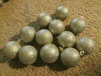 """Set of 12 SILVER Glitter Christmas Ball Hanging Ornaments 2"""" Smooth or Ridged"""