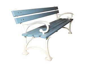 Garden Park bench with armrest - blue and white HEAVY SOLID 160cm
