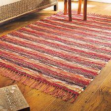 Fair Trade Spice Rag Rug Red 100% Recycled Handloom Cotton Chindi Braided Boho