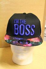 Carbon 212 Mens Black/Blue I'm The Boss Snapback Baseball Cap/Hat