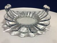 Vintage Heisey Crystolite Bon Bon. Candy, Condiment Dish with Knurled Handles