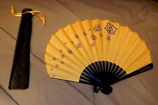 BRAND NEW ~ BEAUTIFUL VEUVE CLICQUOT ORANGE HAND FAN WITH SLEEVE