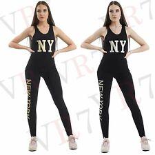 2Pc Trajes Gimnasio New York Mujer Entrenamiento de Fitness Active Ropa Leggings