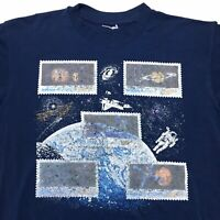 Vintage Outer Space Planets 90s Postage Stamps Double Sided Men's Blue T Shirt M