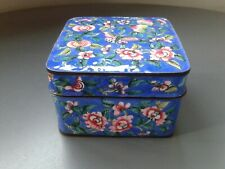 More details for antique chinese canton enamel on copper butterfly and floral blue ground box