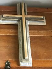 Hand Made Large Layered Barn Wood Rustic Wooden Cross Wall Plaque – 18 inches hi