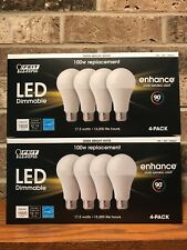 Feit 100W Replacement 8 Pack Dimmable Bright White 17.5 W LED Light Bulb