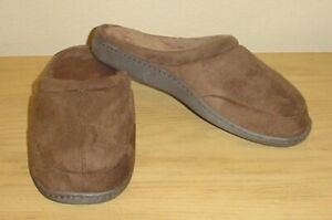 NIB Mens SLIPPERS Plush Lined Scuffs with Microfiber Insole BROWN Indoor/Outdoor