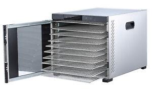 "Samson ""Silent"" 10 Tray Stainless Dehydrator-Digital Controls Glass Door"