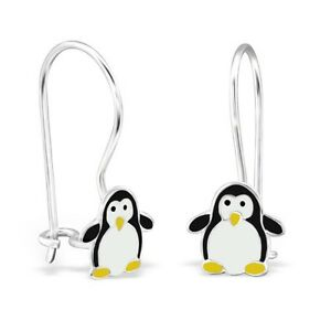 Kids Girls 925 Sterling Silver Black Penguin Dangle Drop Earrings Animal Boxed