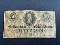 1863 Confederate States of America Fifty Cent Note 50c Currency Paper Money
