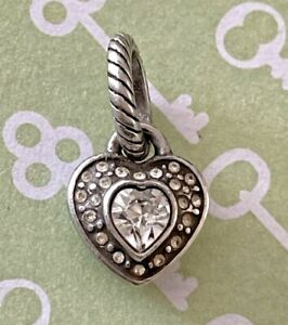 Brighton WHITE HEART Sparkle Crystals Valentines Day Two-Sided Silver ABC Charm