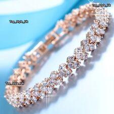 Rose Gold Diamond Tennis Bracelet Xmas Gifts for Her Women BLACK FRIDAY DEAL CC