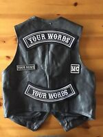 Large Personalized Top And Bottom Rockers Plus Name And Mc Patch Set Biker Trike