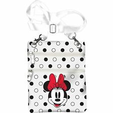 Disney Minnie Mouse Passport Bag Crossbody bag Polka Dot White , Licensed Produc