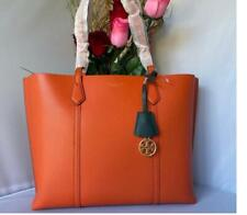 NWT Tory Burch Perry Triple Compartment Pebble Leather Tote Shopper In Orange