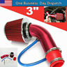 Air Flow Intake Kit Red Pipe Diameter 3''+Cold Air Intake Filter Clamp Accessory