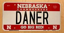 "NEBRASKA CORNHUSKERS UNIV BIG RED VANITY LICENSE PLATE "" DANER "" DANISH  DANE"