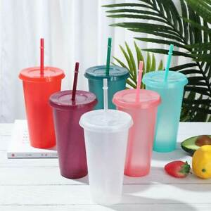 Water Bottle With Straws Drinking Straw Cup Flash Powder Drinkware Shiny