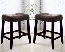 """Kent Saddle 24""""H Counter Stool Chair Espresso PU Leather Wooden Legs"""