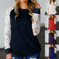 Women Lace Floral Splicing O-Neck Long Sleeve T-Shirt Casual Blouse Pullover LIU
