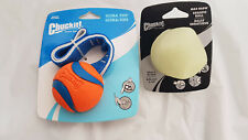 2 Chuckit Medium Size Dog Balls 1 Ultra-Tug ball & 1 Max glow Erratic Ball