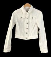 YMI Jeans Distressed White Denim Jacket Juniors Size Medium Rip and Tear