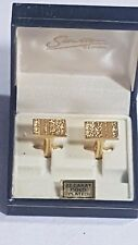Stratton of London Cufflinks Boxed 22ct Gold Plated Bisected Rough Surface No 5