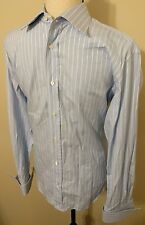 CANALI Striped Button Front Dress Shirt Men's 15.5/39 French Cuff Italy