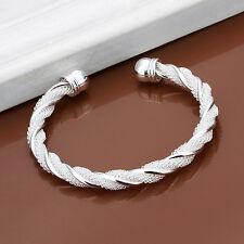 New Women 925 Silver Plated Twist Cuff Bangle Bracelet Wristband Bling Jewelry U