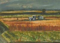 Mid 20th Century Gouache - The Farm at Harvest