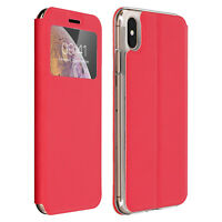 Window flip case, flip wallet case with stand for Apple iPhone XS Max - Red