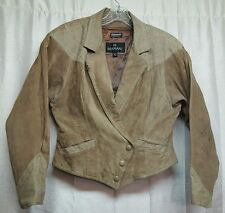 Womens Bermans Leather Jacket Western Medium Removable Liner Shoulder Pad Stains