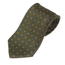 E. MARINELLA NAPOLI Green Gold Diamond Square Blue Flower Men's Silk Neck Tie