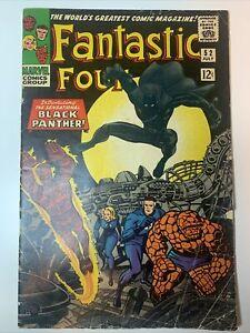 Fantastic Four #52 1st Appearance BLACK PANTHER WAKANDA Solid VG Marvel 1966
