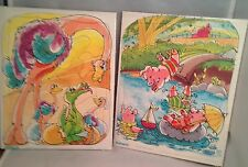 Set of 2 Vintage Playskool Tray Puzzles 1976