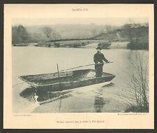 PUY-DE-DOME PECHE AVEC SANGLON DANS RIVIERE LA DORE IMAGE 1900