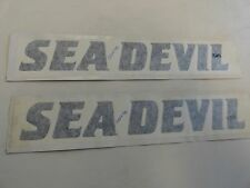 "CRUISERS YACHTS SEA DEVIL DECAL PAIR (2) BLACK 13 1/2"" X 2"" MARINE BOAT"