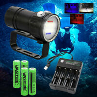 14 LED 120° Photography Video Light Scuba Diving Flashlight Torch 4*18650+USB CH