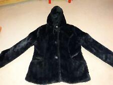 ladies black soft fur like hooded coat size 16
