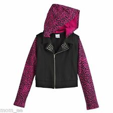 Disney Jacket D Signed Girls sz 6 Cheetah Hood Moto Stud Collar Black Purple NWT